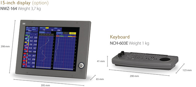 Image:Dimension:15-inch display (option) NWZ-164/Keyboard NCH-603E