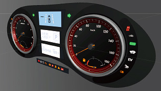 Image:The meter panel can be presented only by importing an arbitrary 3D objects (.fbx).